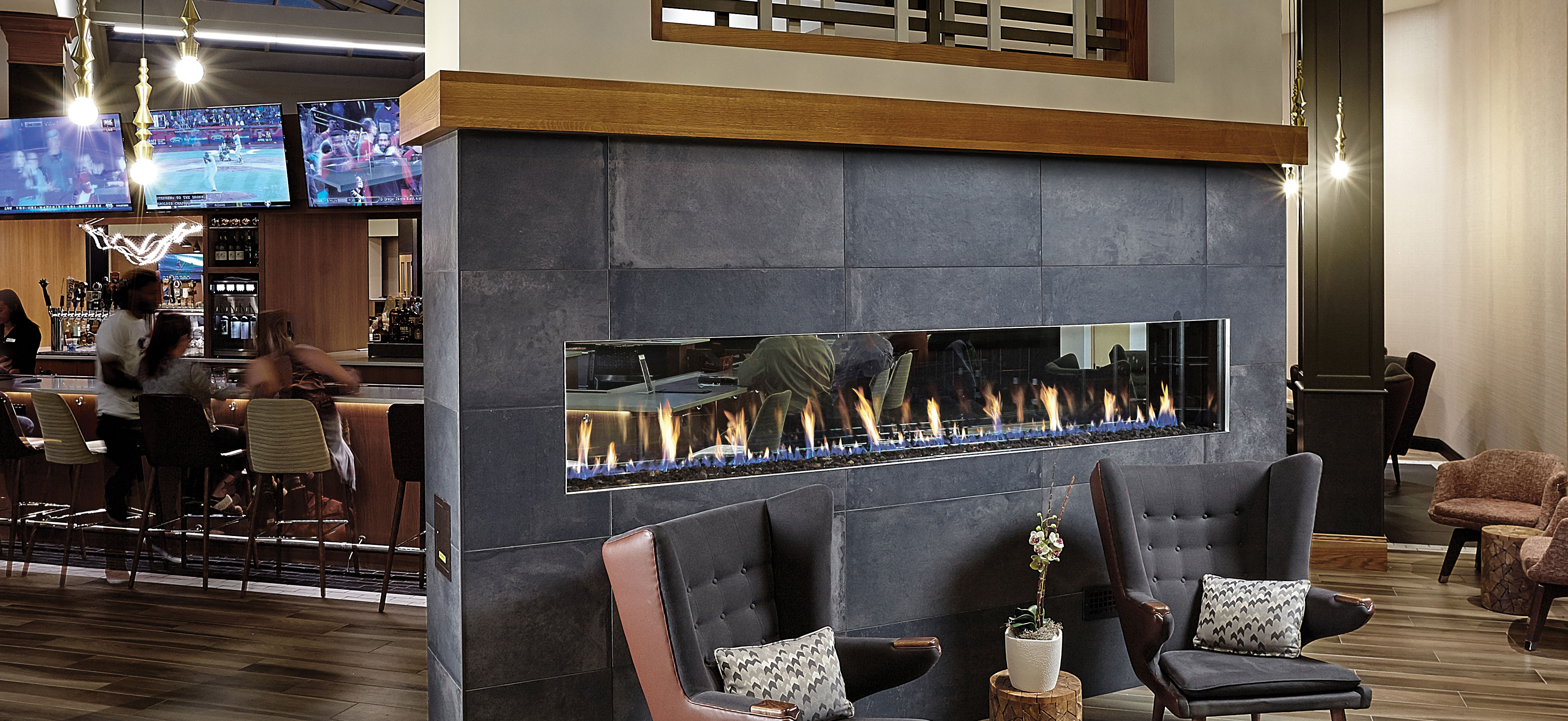 Double Sided DaVinci Custom Fireplace - Hotel